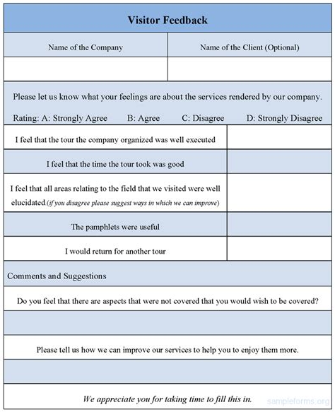 feedback form template visitor feedback form sle visitor feedback form