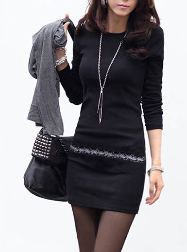 micro mini dress black sleeves fleece lined