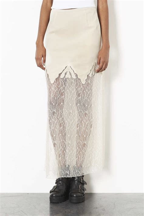 topshop lace maxi skirt in lyst