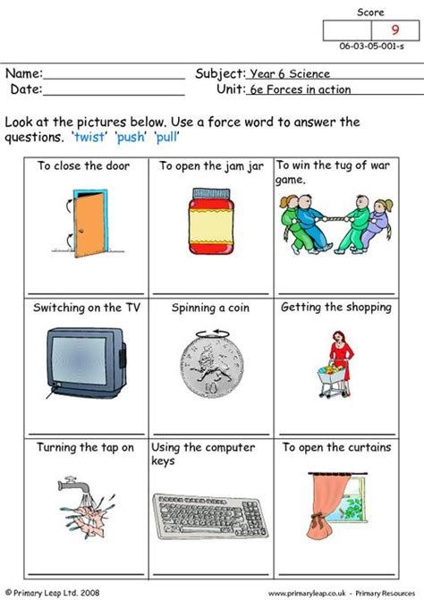 Push And Pull Worksheets For Kindergarten by Twist Push Or Pull Primaryleap Co Uk