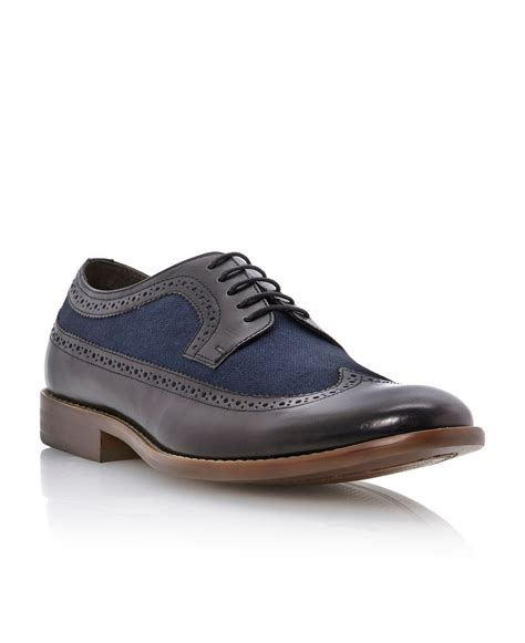 wingtip shoes dune combo wingtip shoe in blue for navy lyst