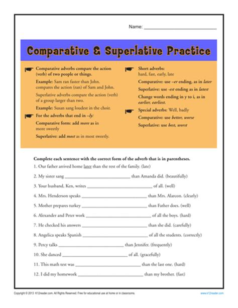 comparative and superlative activities for year 5 by