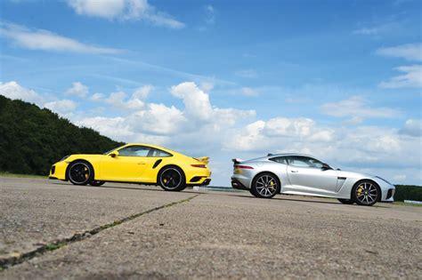 jaguar f type svr vs porsche 911 turbo pictures auto