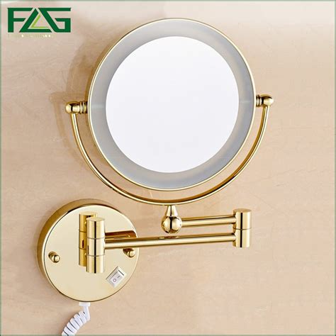 bathroom makeup mirror golden brass led light makeup mirrors 8 quot round dual sides