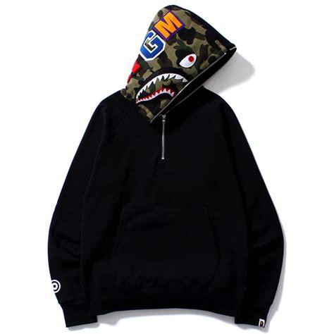 Zip Hoodie Bape shark half zip pullover hoodie on the hunt