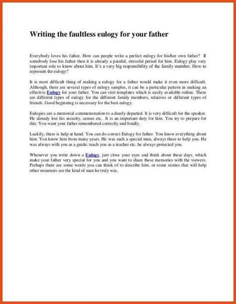 eulogy template for exles of eulogies template business