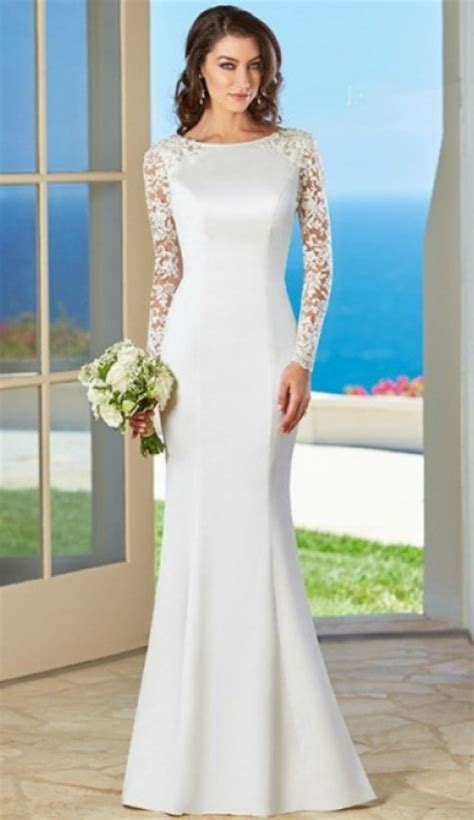 simple elegant long sleeves wedding dress  older brides
