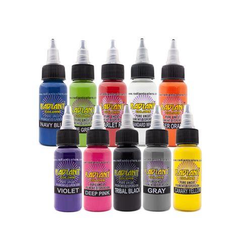 radiant tattoo ink ink set radiant colors 10 x 1 2oz 10 popular colors