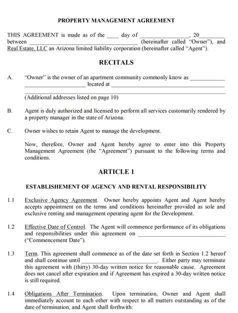 rental management agreement template property management contract
