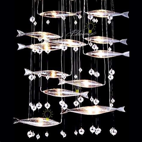 fish eye light fixture handcraft flying fish with multi units in chrome finish