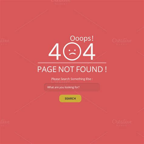 ooops 404 not found page web elements on creative market