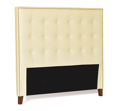 leather headboard with nailhead trim queen size ivory cream genuine leather buttonless tufted