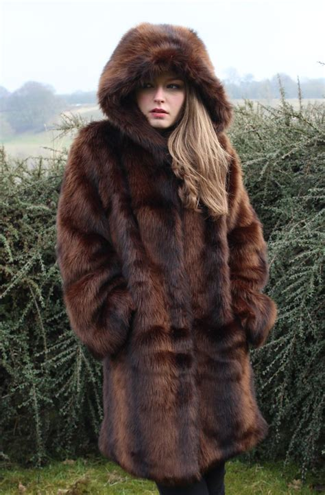 Faux Fur Hooded Coat mink faux fur hooded coat autumn winter fashion