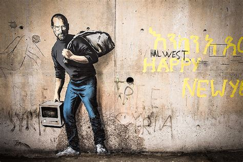 banksy depicts steve jobs  latest mural  stand