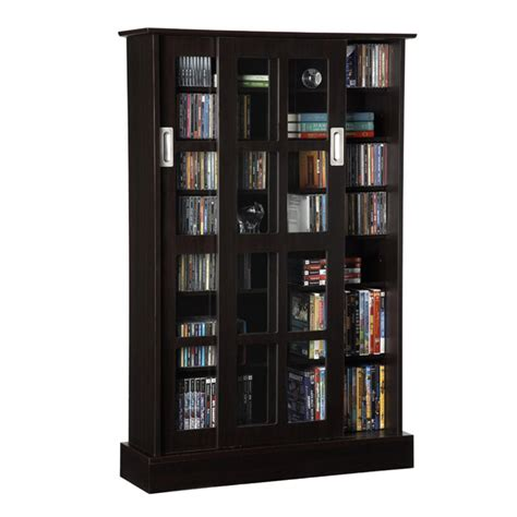 dvd storage cabinet with sliding glass doors atlantic windowpanes series wood media cabinet with