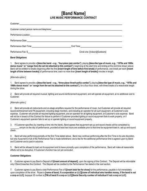 performance agreement template best photos of artist performance contract artist