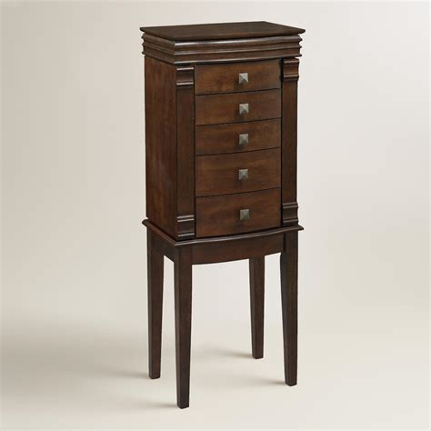 jewelry armoire walnut walnut brown kari jewelry armoire world market