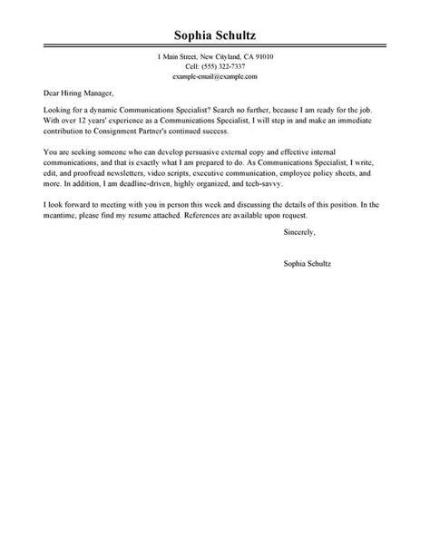 internal communications manager cover letter sample livecareer