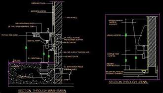 Bathroom Architectural Drawings Typical Section Of Wash Basin And Urinal Plan N Design