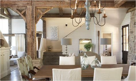 lake house dining room ideas rustic wood beams cottage dining room tracery interiors