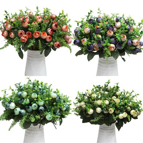 artificial flower for home decor 12 head rose tea buds buds bouquet flowers artificial