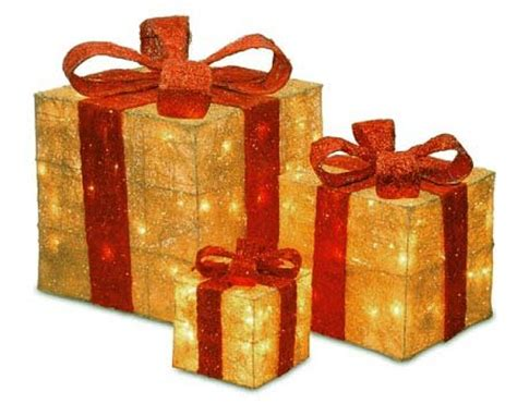 set of 3 lit gift boxes boxes lighted yard decorations