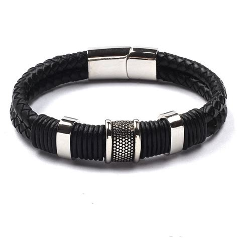 Handmade Stainless Steel Jewelry - handmade stainless steel magnetic clasp black leather
