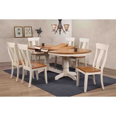Panel Wood Rushteriosnew Set 7 pieces oval dining set panel back wood seat caramel and biscotti dcg stores