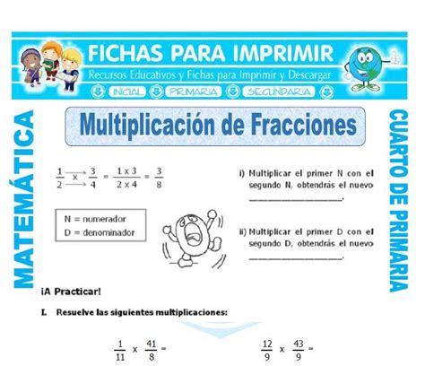 matematicas cuarto de primaria ejercicios multiplicacion de fracciones para cuarto de primaria