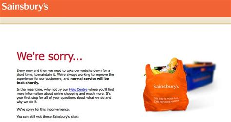 Possible Time Site Maintenance by Sainsburys Co Uk Maintenance Today