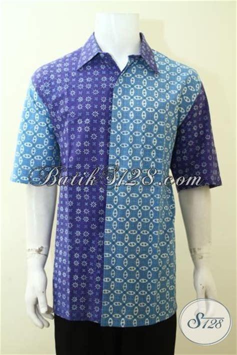 Baju Hem Biru Dongker baju kemeja batik kombinasi ungu dan biru muda keren dan berkelas hem batik cap tulis produk