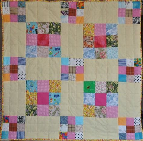 Large Patchwork Quilt - patchwork scrap quilt large and small quares folksy