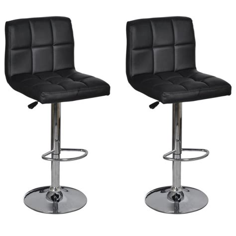Leather Gas Lift Bar Stools by 2x Grid Faux Leather Gas Lift Bar Stools In Black Buy Sets Of 2
