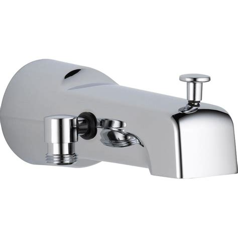 bathtub shower diverter delta 6 5 in long pull up diverter tub spout in chrome