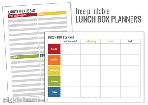lunch box planner printable simple lunch box ideas picklebums