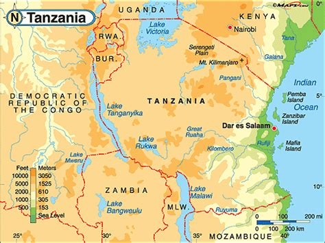 physical map of tanzania tanzania physical map by maps from maps world s