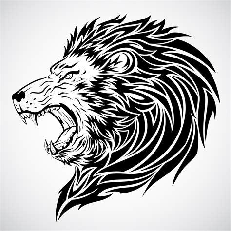 tribal lion head tattoo beautiful black ink tribal design