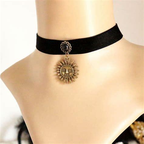 tattoo pendant adjustable gothic sun and moon pendant necklace black