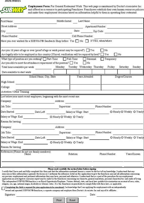 subway printable job application pdf subway job application template free template download