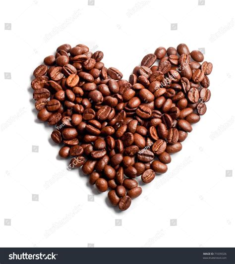 Papa Bean White Coffee shaped coffee beans isolated on stock photo 71039326