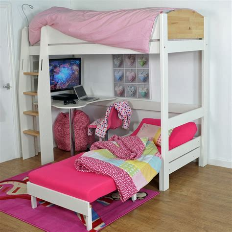 high sleeper bed in white birch beds