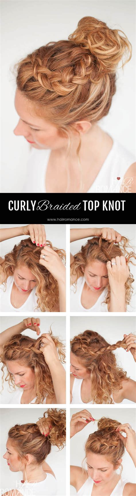 Curly Wedding Hairstyle For Medium Hair Tutorial by Everyday Curly Hairstyles Curly Braided Top Knot
