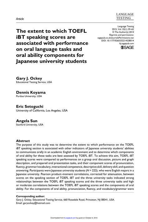 (PDF) The extent to which TOEFL iBT speaking scores are