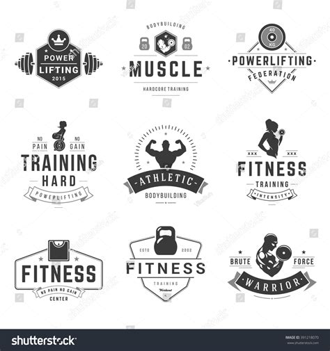 Fitness Logos Templates Set Vector Object Stock Vector 391218070 Shutterstock Fitness Logo Design Templates