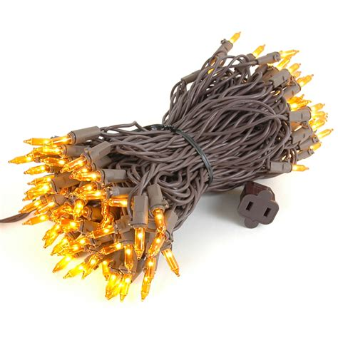 Amber Orange Christmas Mini Lights Set 100 Light Brown Brown Wire Outdoor Mini Lights