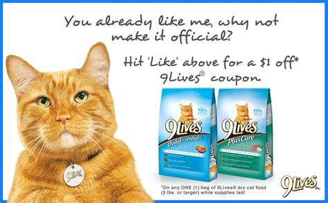 printable 9 lives cat food coupons 9 lives cat food coupon