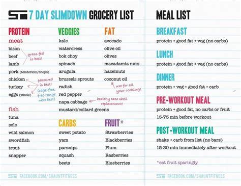 7 days list shaun t 7 day slimdown grocery list shaun t