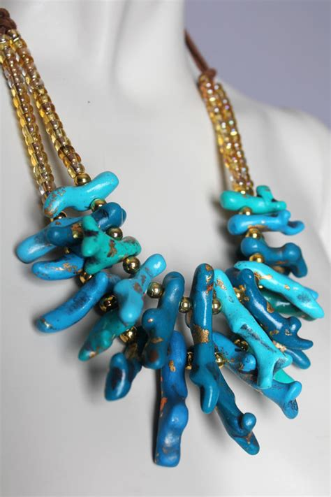 Handmade Bead Necklace - chunky turquoise coral necklace handmade clay blue