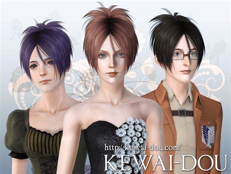 attack on titan sims 3 hair sangrose hair for the sims3 kewai dou