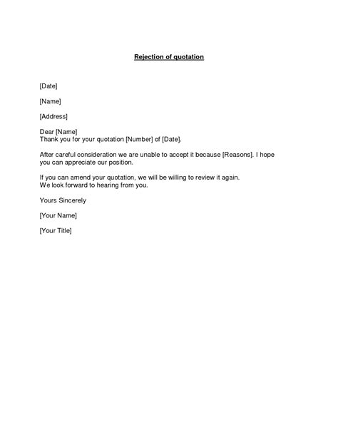Rejection Letter Quotation Best Photos Of Letter Of Intent Sle